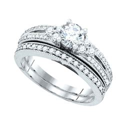 1 CTW Round Diamond Bridal Wedding Engagement Ring 14kt White Gold - REF-156X3T
