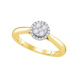 1/4 CTW Round Diamond Cluster Bridal Wedding Engagement Ring 14kt Yellow Gold - REF-33H3W