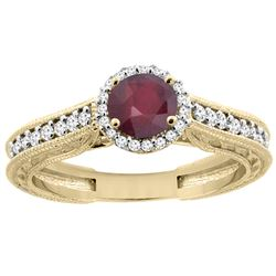 1.29 CTW Ruby & Diamond Ring 14K Yellow Gold - REF-57M9K