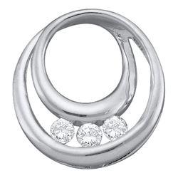 1/5 CTW Round Diamond 3-Stone Circle Pendant 10kt White Gold - REF-14A4N