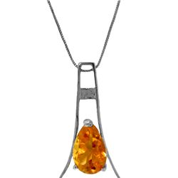 Genuine 1.50 ctw Citrine Necklace 14KT White Gold - REF-35X4M