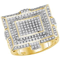 5/8 CTW Mens Round Diamond Square Cluster Fashion Ring 10kt Yellow Gold - REF-60H3W