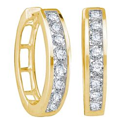 1 CTW Round Channel-set Diamond Hoop Earrings 14kt Yellow Gold - REF-71M9A