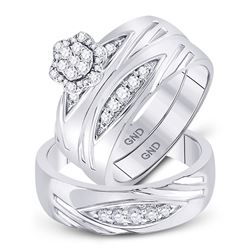1/2 CTW His & Hers Round Diamond Cluster Matching Bridal Wedding Ring 10kt White Gold - REF-60F3M