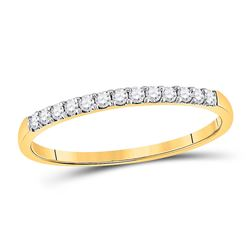 1/6 CTW Round Pave-set Diamond Wedding Ring 10kt Yellow Gold - REF-11M9A