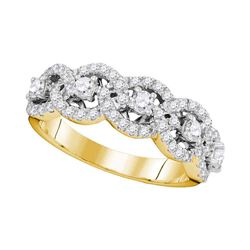 1 CTW Round Pave-set Diamond Linked Circle Ring 14kt Yellow Gold - REF-71Y9X