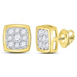 1/2 CTW Round Diamond Square Cluster Stud Earrings 14kt Yellow Gold - REF-35N9Y