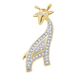 1/10 CTW Round Diamond Giraffe Animal Pendant 10kt Yellow Gold - REF-10X2T