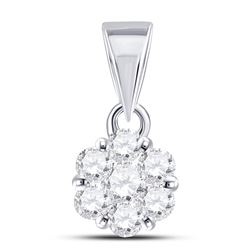 1/3 CTW Round Diamond Flower Cluster Pendant 14kt White Gold - REF-27N5Y