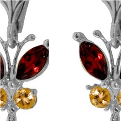 Genuine 2.74 ctw Garnet & Citrine Earrings 14KT White Gold - REF-42F6Z