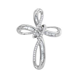 1/5 CTW Round Diamond Cross Pendant 10kt White Gold - REF-14X4T