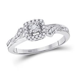 1/6 CTW Round Diamond Solitaire Halo Bridal Wedding Engagement Ring 10kt White Gold - REF-18F3M