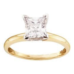 7/8 CTW Princess Diamond Solitaire Bridal Wedding Engagement Ring 14kt Yellow Gold - REF-192F3M