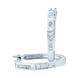 1/3 CTW Princess Diamond Slender Hoop Earrings 14kt White Gold - REF-35A9N