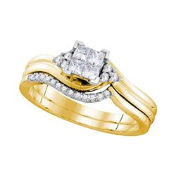 1/3 CTW Princess Diamond Bridal Wedding Engagement Ring 10kt Yellow Gold - REF-35M9A