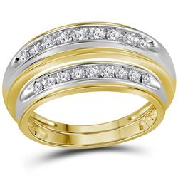 1/2 CTW His & Hers Round Diamond Matching Wedding Ring 10kt Yellow Gold - REF-35T9K
