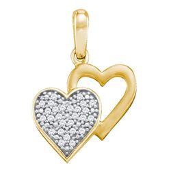 1/12 CTW Round Diamond Double Heart Pendant 10kt Yellow Gold - REF-7Y8X
