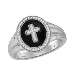 1/6 CTW Mens Round Diamond Cross Crucifix Fashion Ring 10kt White Gold - REF-27H5W