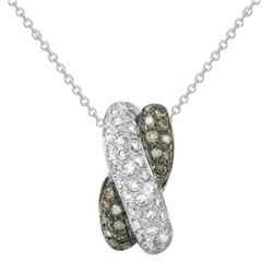 0.56 CTW White & Brown Diamond Pendant 14K White Gold - REF-39X2R