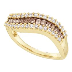 5/8 CTW Princess Brown Diamond Contoured Ring 14kt Yellow Gold - REF-47R9H