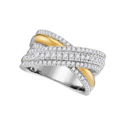 1 CTW Round Diamond Crossover Fashion Ring 14kt Two-tone White Yellow Gold - REF-105H6W