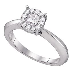1/2 CTW Princess Diamond Cluster Bridal Wedding Engagement Ring 14kt White Gold - REF-81Y5X
