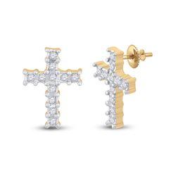 1/10 CTW Round Diamond Cross Earrings 14kt Yellow Gold - REF-14N4Y