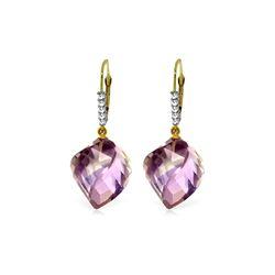 Genuine 21.65 ctw Amethyst & Diamond Earrings 14KT Yellow Gold - REF-57A6K