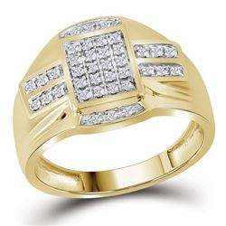 1/4 CTW Mens Round Diamond Rectangle Cluster Ring 10kt Yellow Gold - REF-30Y3X