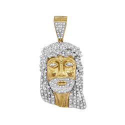 7/8 CTW Mens Round Diamond Jesus Face Charm Pendant 10kt Yellow Gold - REF-54A3N
