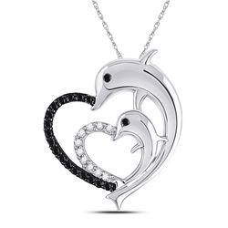 1/8 CTW Round Black Color Enhanced Diamond Dolphin Heart Pendant 10kt White Gold - REF-8T4K
