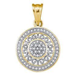 1/6 CTW Round Diamond Circle Pendant 10kt Yellow Gold - REF-11X9T