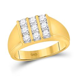 7/8 CTW Mens Round Diamond Triple Row Fashion Ring 14kt Yellow Gold - REF-63Y4X