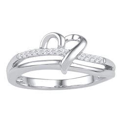 1/20 CTW Round Diamond Heart Ring 10kt White Gold - REF-11N9Y
