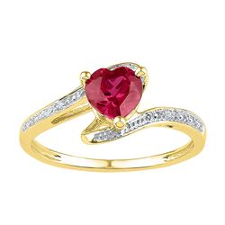1 CTW Heart Lab-Created Ruby Solitaire Diamond-accent Ring 10kt Yellow Gold - REF-10Y8X