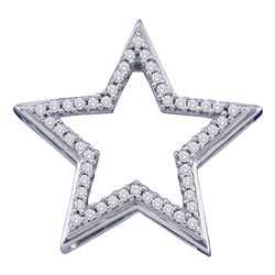 1/6 CTW Round Diamond Star Frame Outline Pendant 10kt White Gold - REF-11M9A