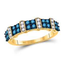 3/4 CTW Round Blue Color Enhanced Diamond Ring 10kt Yellow Gold - REF-32R3H