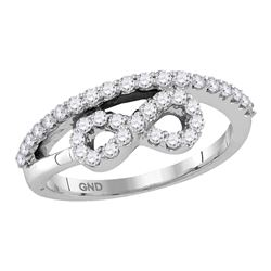 1/2 CTW Round Diamond Woven Infinity Ring 10kt White Gold - REF-30H3W