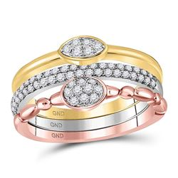 1/2 CTW Round Diamond 3-Piece Stackable Ring 10kt Tri-Tone Gold - REF-41M9A
