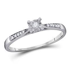 1/10 CTW Round Diamond Solitaire Bridal Wedding Engagement Ring 10kt White Gold - REF-11H9W