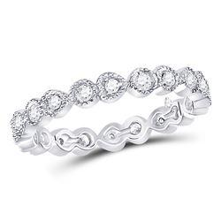 3/8 CTW Round Diamond Heart Eternity Ring 10kt White Gold - REF-35F9M