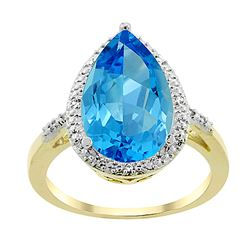 5.55 CTW Swiss Blue Topaz & Diamond Ring 10K Yellow Gold - REF-34M8A