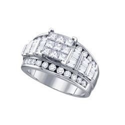 2 CTW Princess Diamond Elevated Cluster Bridal Wedding Engagement Ring 14kt White Gold - REF-167T9K