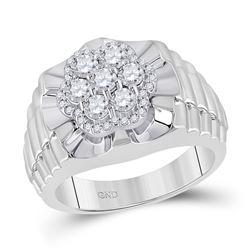 1 CTW Mens Round Diamond Scalloped Cluster Ring 10kt White Gold - REF-111H3W