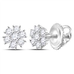 1/8 CTW Round Diamond Flower Cluster Burst Earrings 14kt White Gold - REF-10T8K