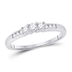 1/4 CTW Round Diamond 3-stone Bridal Wedding Engagement Ring 14kt White Gold - REF-24K3R