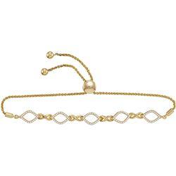 1/4 CTW Round Diamond Infinity Oval Bolo Bracelet 10kt Yellow Gold - REF-39Y3X