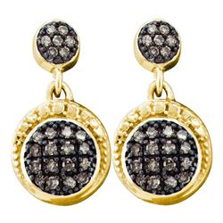 1/4 CTW Round Brown Diamond Dangle Earrings 10kt Yellow Gold - REF-16R8H