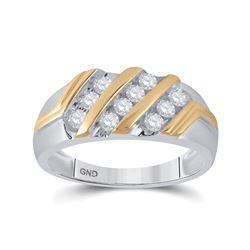 1/2 CTW Mens Round Diamond Wedding Ring 10kt Two-tone Gold - REF-32X3T