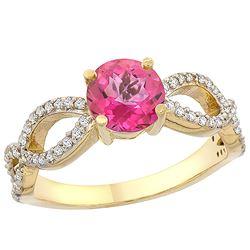 1.25 CTW Pink Topaz & Diamond Ring 14K Yellow Gold - REF-49X8M